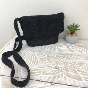 Mini Black Crochet Flap Over Zip Top Crossbody
